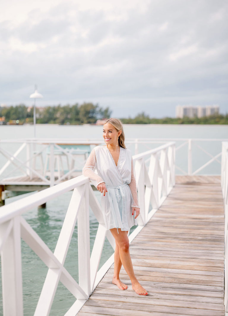 Florida Bride in Light Blue Robe on Waterfront Tampa Boat Pier