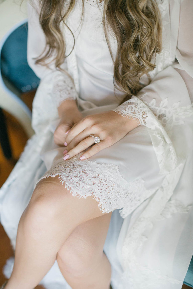 Tampa Bride Getting Wedding Ready in Lace White Robe