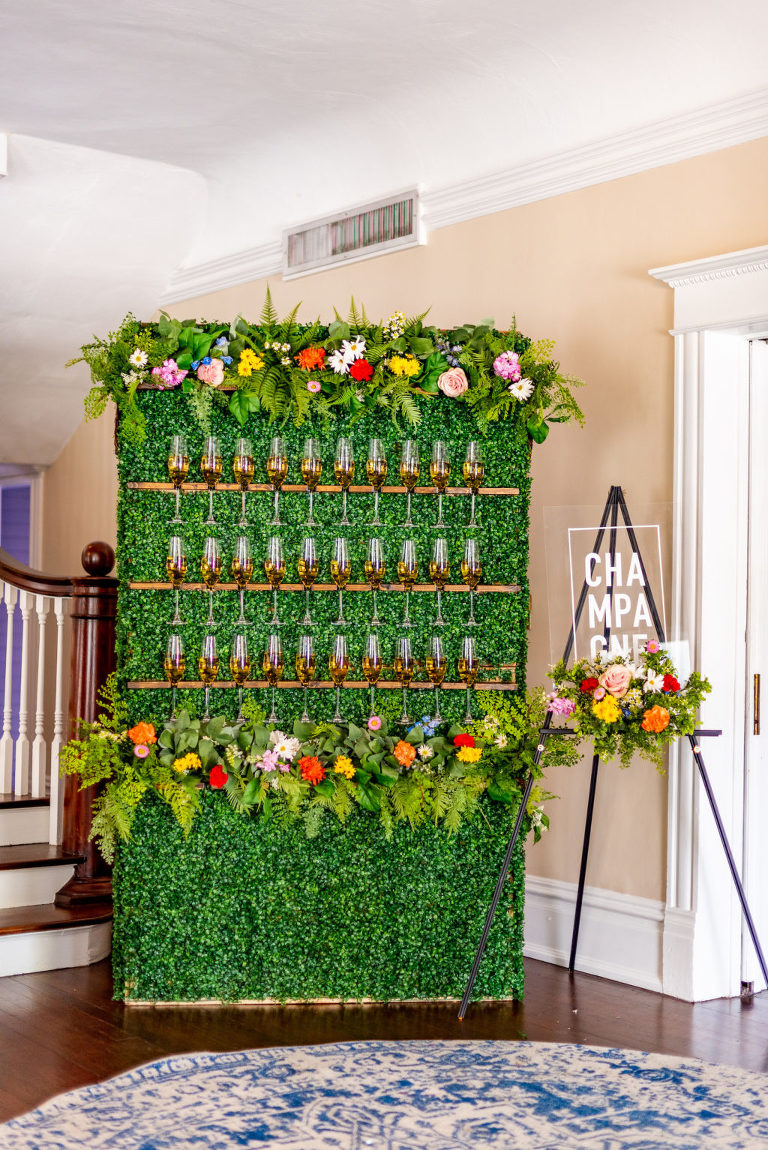 Tampa Wedding Styled Shoot Vibrant Colorful Champagne Wall Display