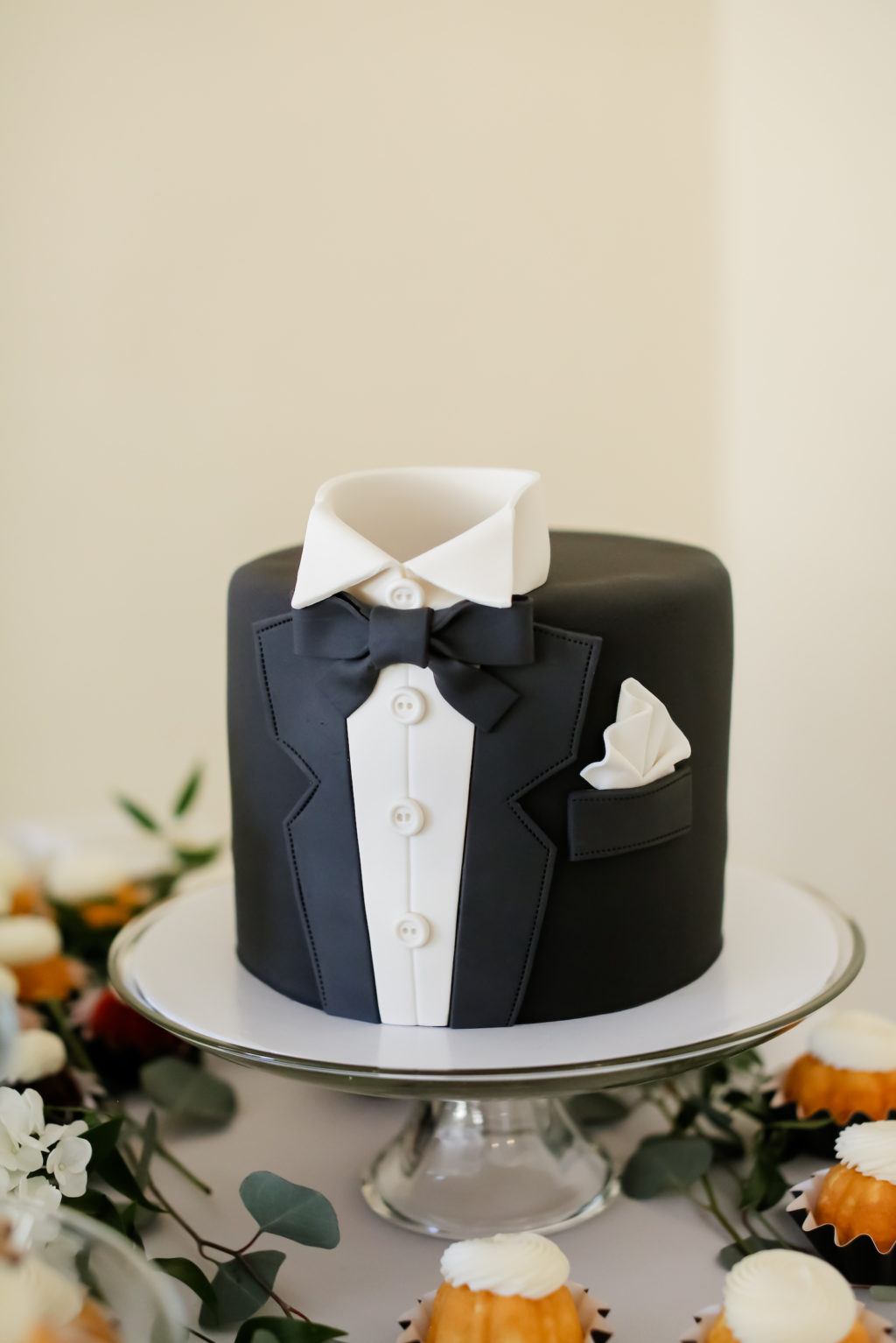 Unique Custom Tuxedo Shaped Grooms Cake | Tampa Bay Wedding Photographer Lifelong Photography Studio | Wedding Cake The Cake Girl