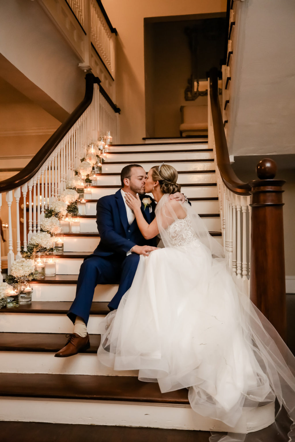 Classic Bride and Groom on Stairs of Wedding Venue The Orlo House with Floating Candles | Tampa Bay Wedding Photographer Lifelong Photography Studio