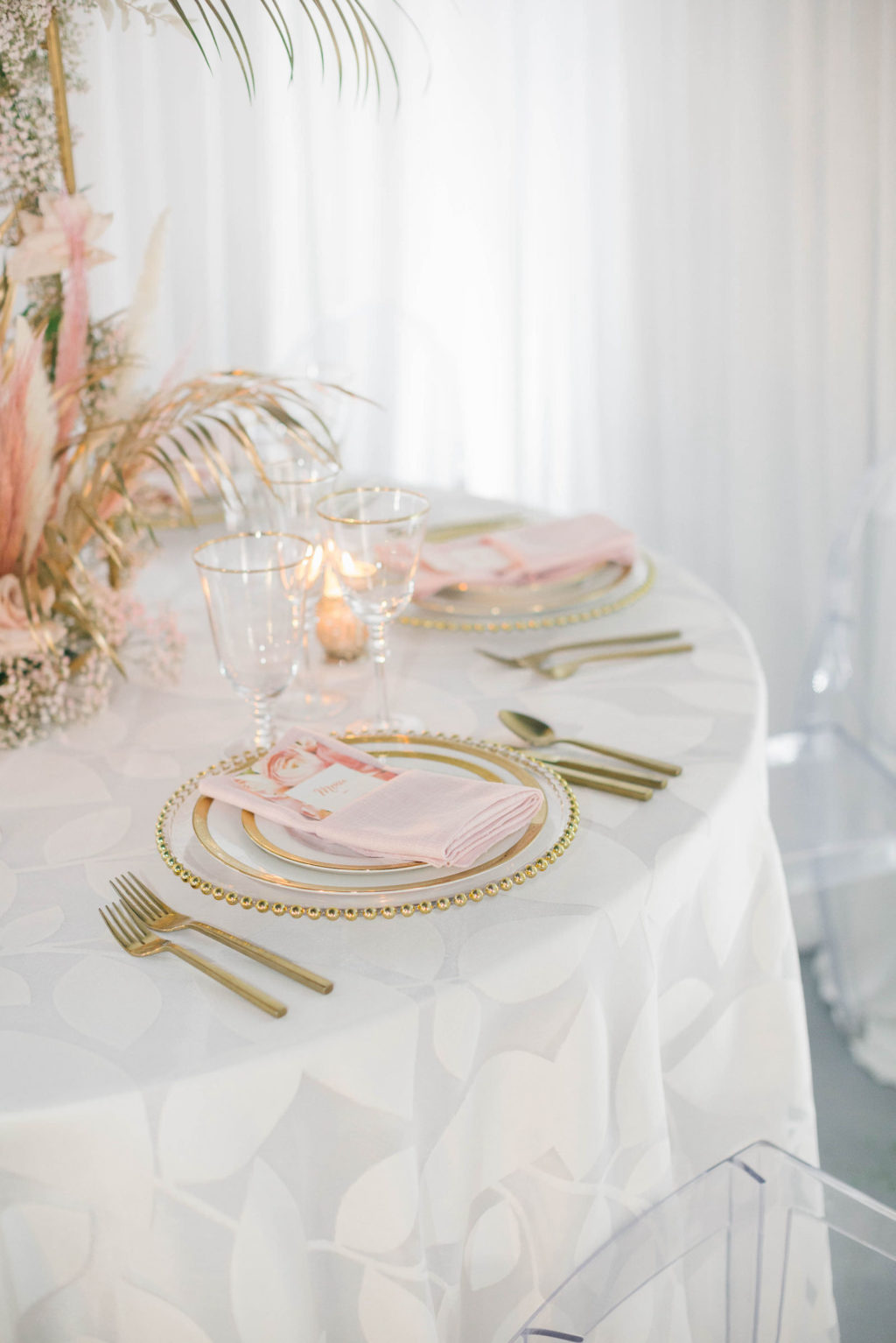 Clearwater Beach Wedding Venue Bellwether Beach Resort Styled With Love Something Bleu by McKenna Bleu | Instagram Wedding Designer Inspiration | Reception Table Linen with Gold Beaded Edge Charger and Gold Flatware with Blush Pink Napkin and Floral Menu Card and Gold Rim Glassware