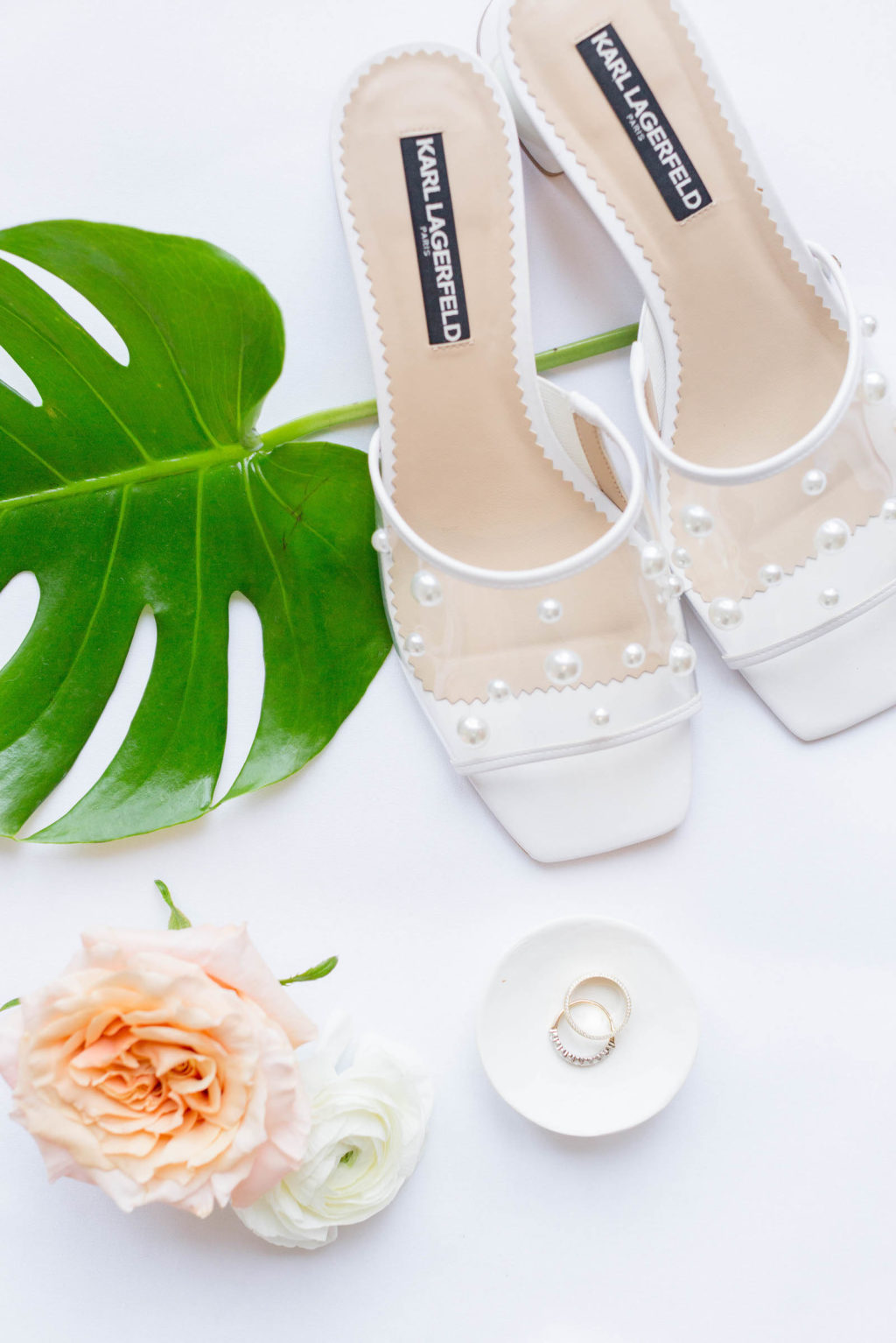 Bride Wedding Accessories Slip On Heels with Sheer Organza and Pearls Designer Shoes by Karl Lagerfeld