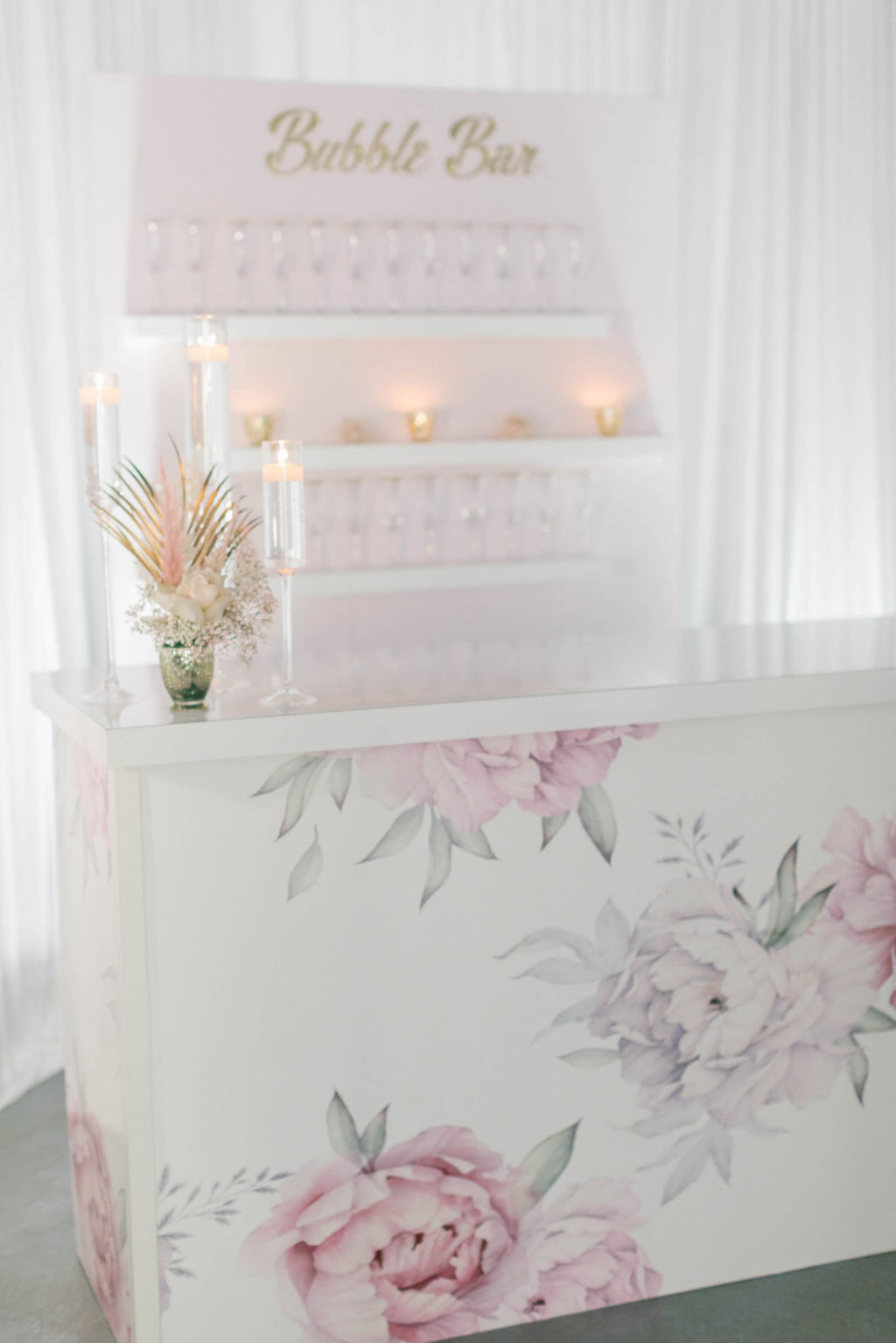 Clearwater Beach Wedding Venue Bellwether Beach Resort Styled With Love Something Bleu by McKenna Bleu | Instagram Wedding Designer Inspiration | Floral Wrapped Custom Bar with Bubble Bar Champagne Wall Shelf Display