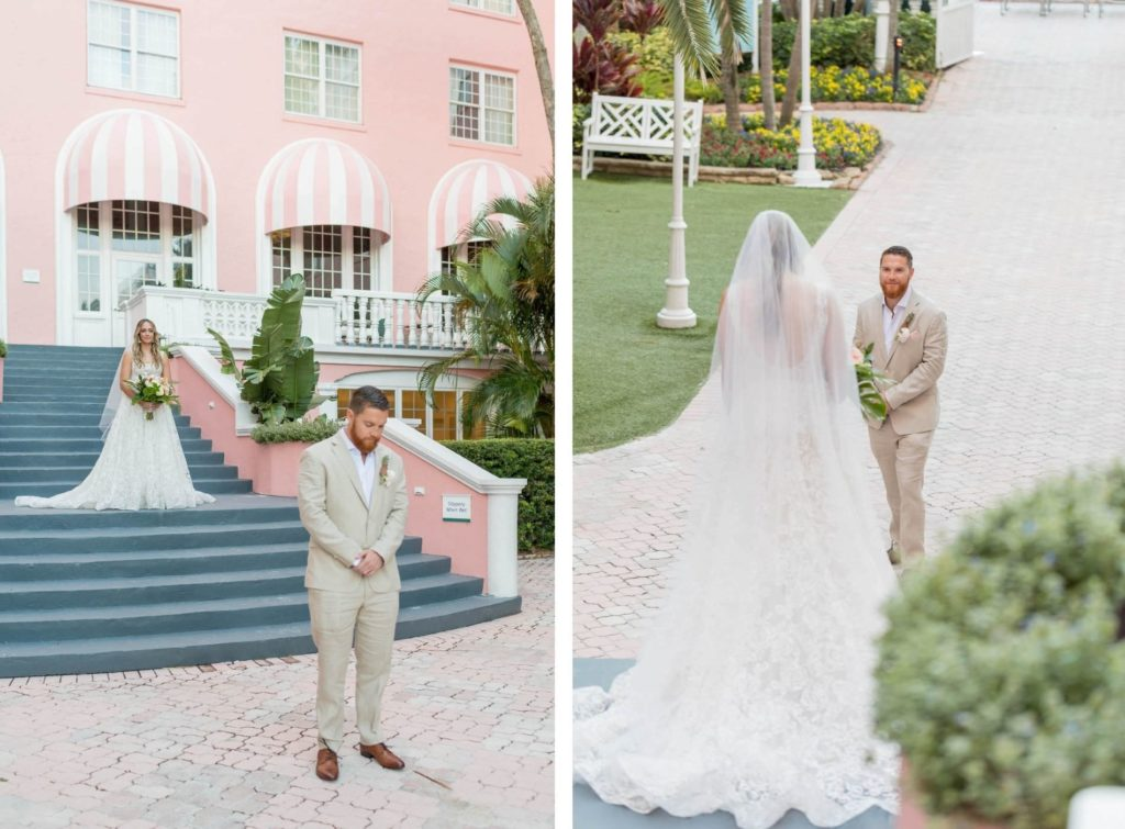 Bride and Groom Outdoor Portrait Staircase First look at St. Pete Beach Wedding Venue The Don CeSar Pink Palace | Monique Lhuillier Designer Wedding Dress A Line Ballgown Lace Bridal Gown | Groom Wearing Casual Khaki Suite
