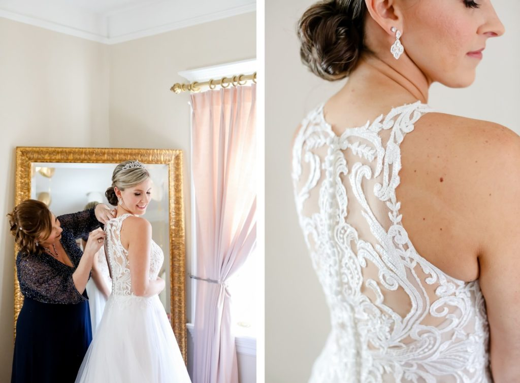 Florida Bride Getting Wedding Ready in Floral Lace and Illusion High Back Wedding Dress | Tampa Bay Wedding Photographer Lifelong Photography Studio