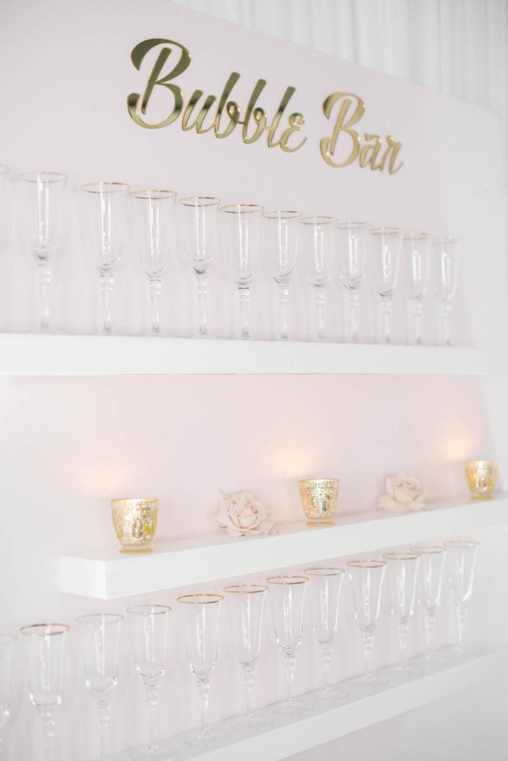 Clearwater Beach Wedding Venue Bellwether Beach Resort Styled With Love Something Bleu by McKenna Bleu | Instagram Wedding Designer Inspiration | Bubble Bar Champagne Wall Shelf Display