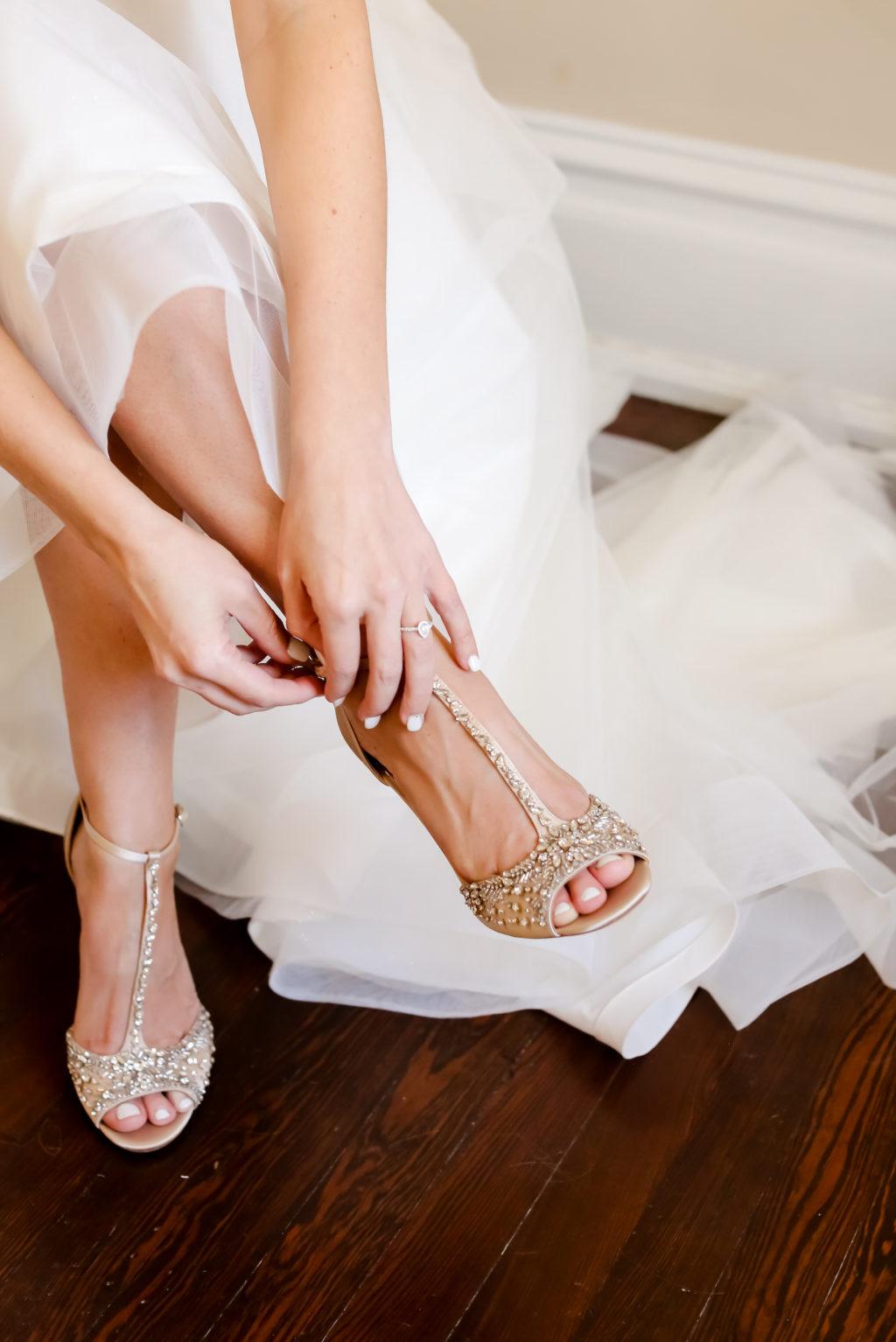 Florida Bride Getting Wedding Ready with Rhinestone Gold Wedding Shoes | Tampa Bay Wedding Photographer Lifelong Photography Studio