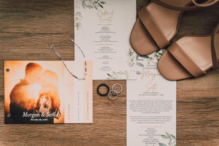 Greenery Watercolor Print Wedding Invitation Suite, Custom Photo Save the Date   Tampa Bay Wedding Photographer Bonnie Newman Creative