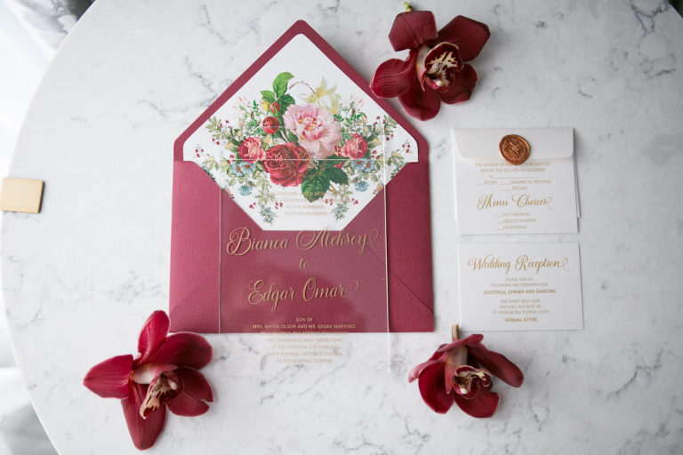 Elegant Modern Clear Acrylic with Gold Font Wedding Invitation, Burgundy Red and Floral Envelope Liner | Tampa Bay Wedding Photographer Carrie Wildes Photography