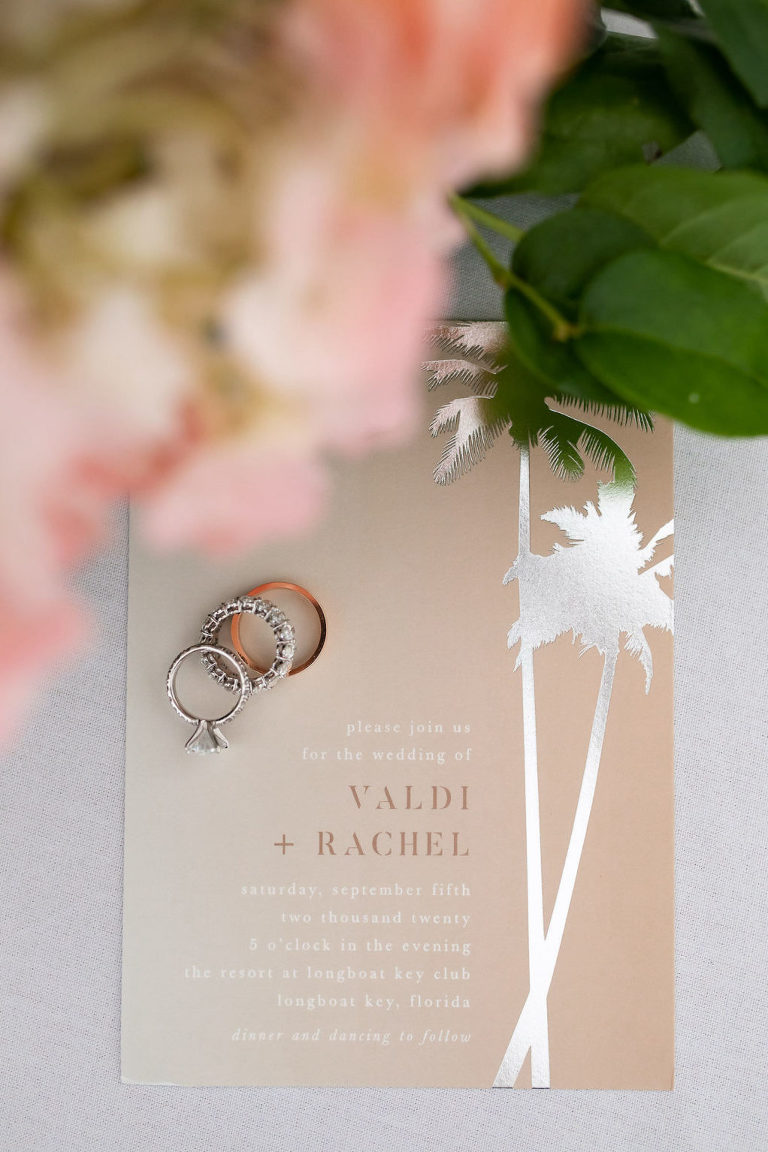 Taupe Sand Florida Beach Wedding Invitation with Silver Foil Palm Tree