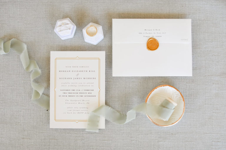 Elegant Classic White and Gold Wedding Invitations, Wedding Rings in Hexagonal Ring Box | Tampa Bay Wedding Photographer Lifelong Photography Studio