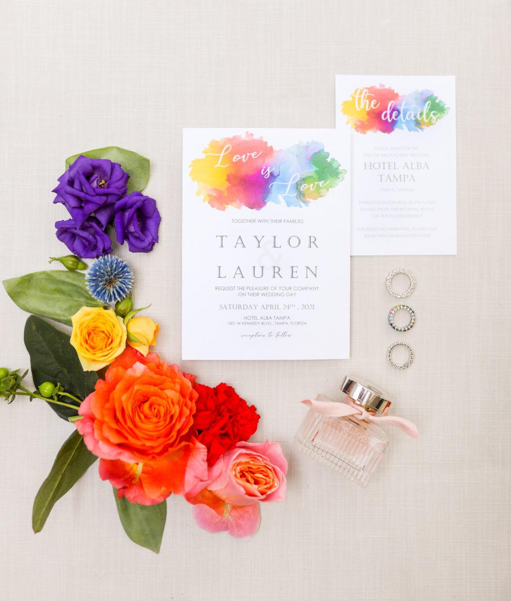 LGBTQ+ Gay Pride Rainbow Watercolor Wedding Invitation, Red, Purple, Yellow and Blue Flowers