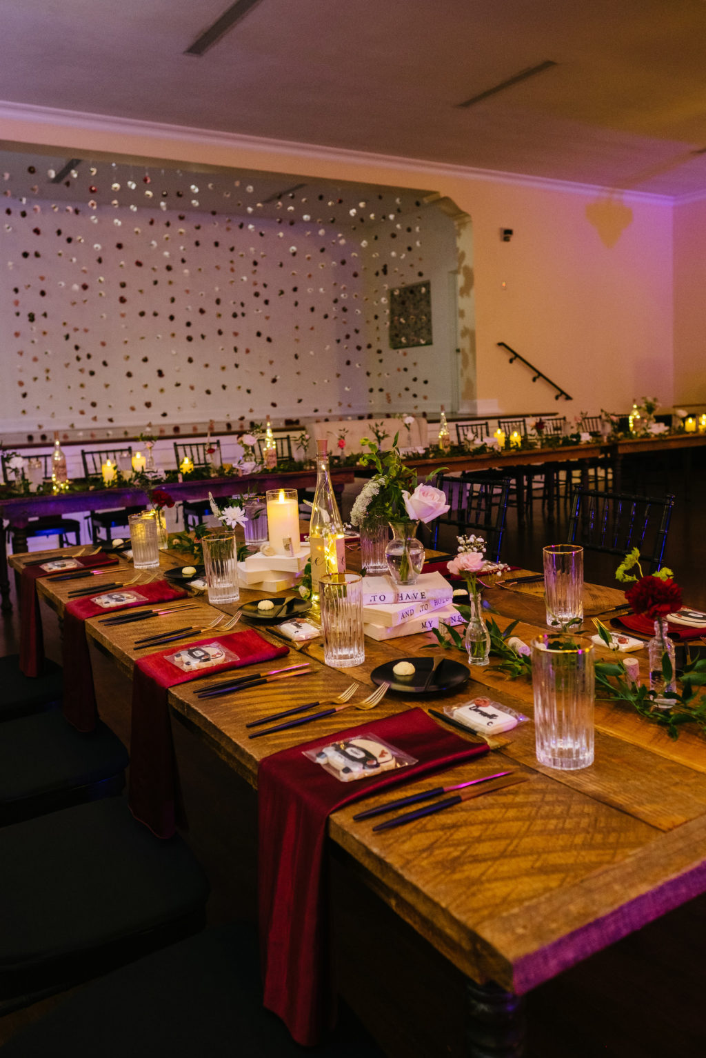 Vintage Red Wedding Reception Decor with Wooden Farm Table