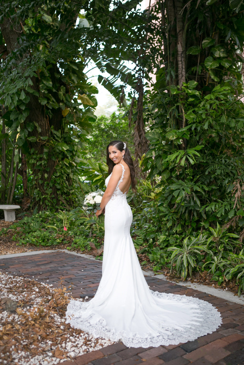 Elegant Bride in Romantic Open Back Floral Lace Strap and Train Crepe Fitted Wedding Dress | Tampa Bay Wedding Photographer Carrie Wildes Photography | Wedding Dress Shop Isabel O'Neil Bridal Collection