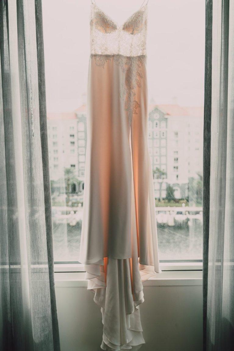 Romantic Lace and Illusion Bodice V Neckline Wedding Dress   Tampa Bay Wedding Photographer Bonnie Newman Creative