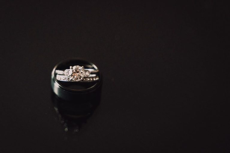 Round Solitaire Diamond Engagement Ring, Black Groom Wedding Band   Tampa Bay Wedding Photographer Bonnie Newman Creative
