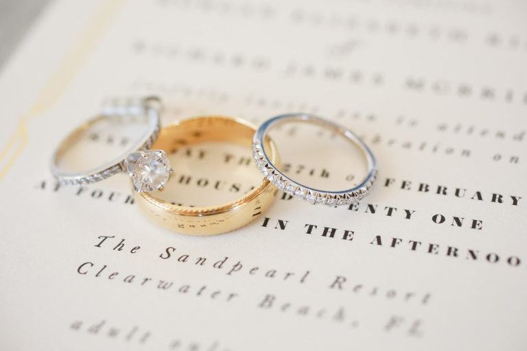 Round Solitaire Diamond Engagement Ring, Bride Diamond Band, Yellow Gold Groom Wedding Ring | Tampa Bay Wedding Photographer Lifelong Photography Studio