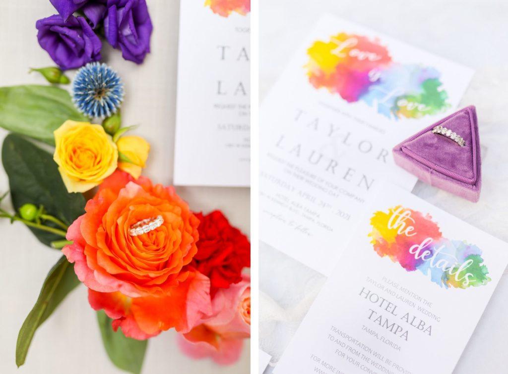 LGBTQ+ Gay Pride Rainbow Watercolor Wedding Invitation, Red, Purple, Yellow and Blue Flowers, Bride Wedding Ring in Triangular Purple Ring Box