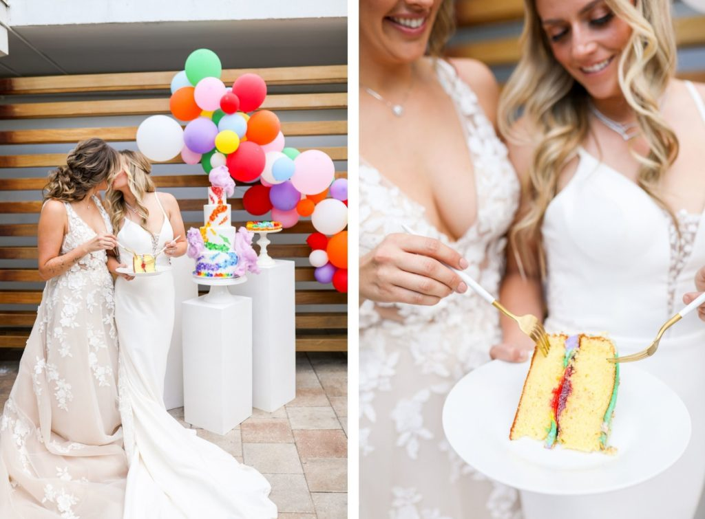 Unique Modern Gay LGBTQ+ Pride Wedding, Lesbian Brides Eating Wedding Cake, Four Tier White with Rainbow, Purple, Blue, Green, Yellow, Orange and Red Painted Colors, Colorful Balloon Arch   Tampa Bay Wedding Planner Stephany Perry Events