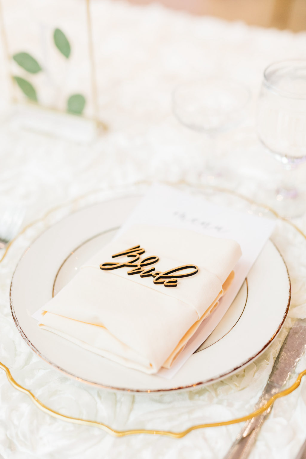 Elegant Garden Wedding Reception Decor, Long Feasting Table with White Floral Table Linen, Scalloped Gold and Clear Charger, Blush Pink Linen Napkin, Laser Cut Name Place Card   Tampa Bay Wedding Rentals Kate Ryan Event Rentals