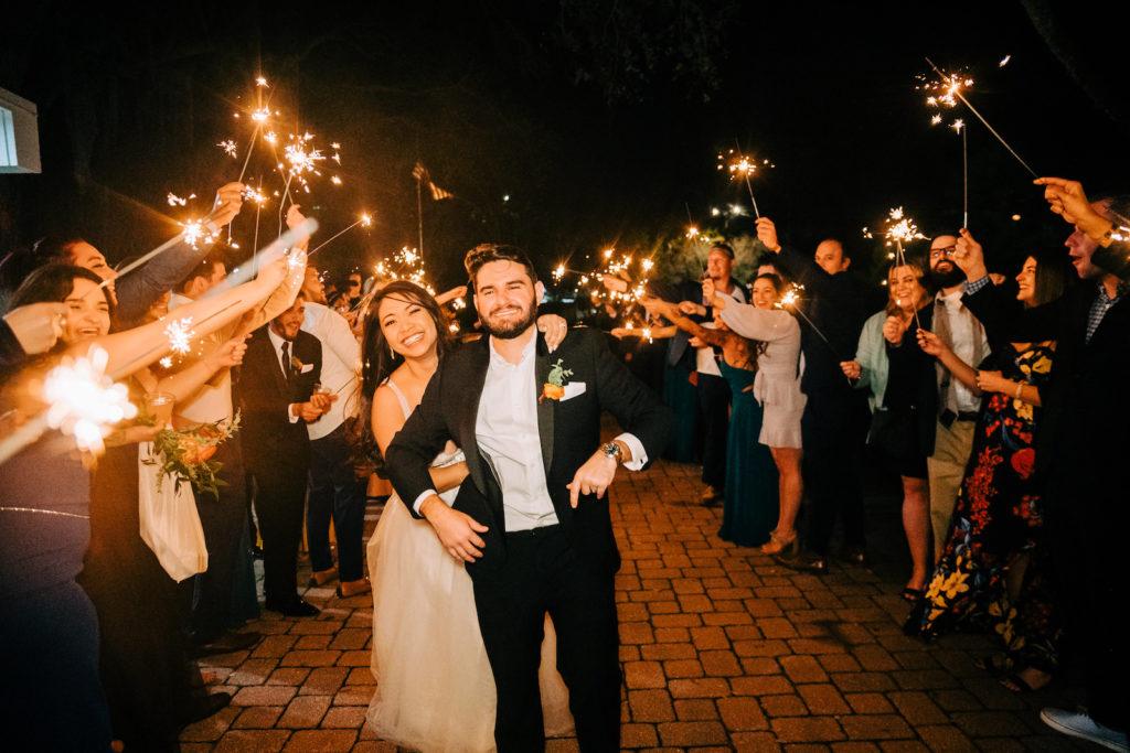 Bride and Groom Sparkler Wedding Reception Exit   Wedding Venue Tampa Garden Club