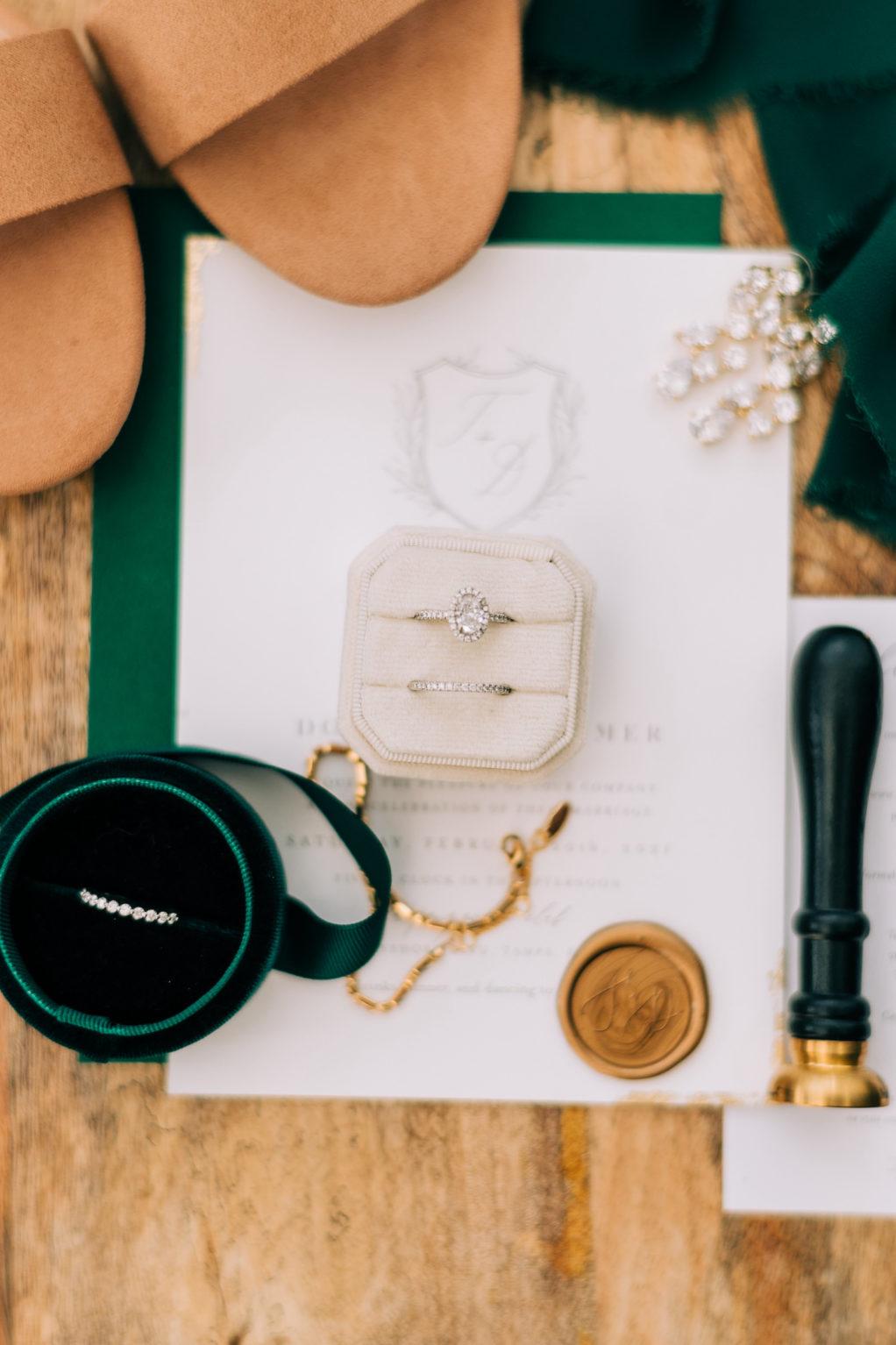 Oval Diamond Engagement Ring in Ivory Velvet Ring Box, Diamond Wedding Band in Green Velvet Ring Box, Custom Wax Seal Stamp, Classic White Wedding Invitation