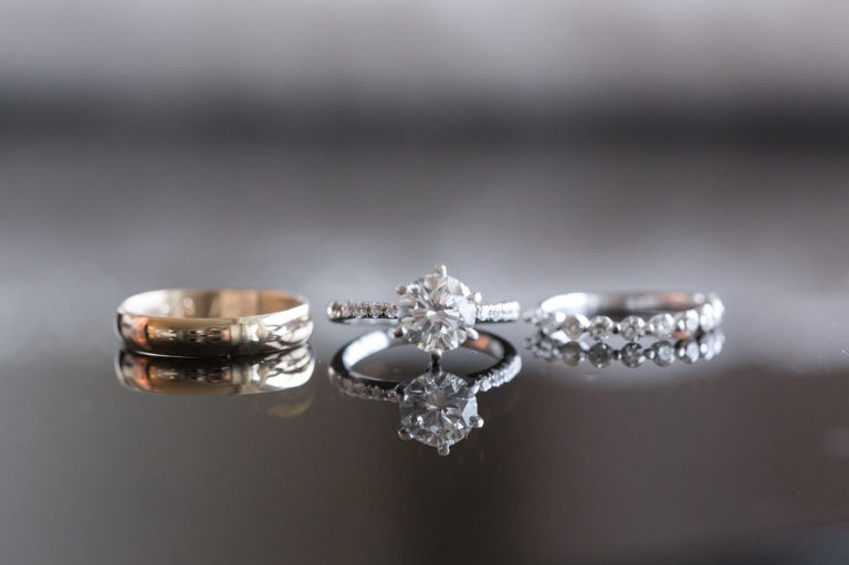 Gold and Silver Wedding Band with a White Gold Solitaire Engagement Ring with Diamond Band