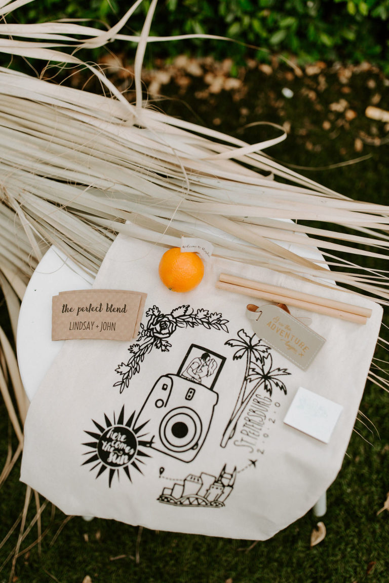 Custom Tote Bag, Wooden Bamboo Straws, Clementine Wedding Favor