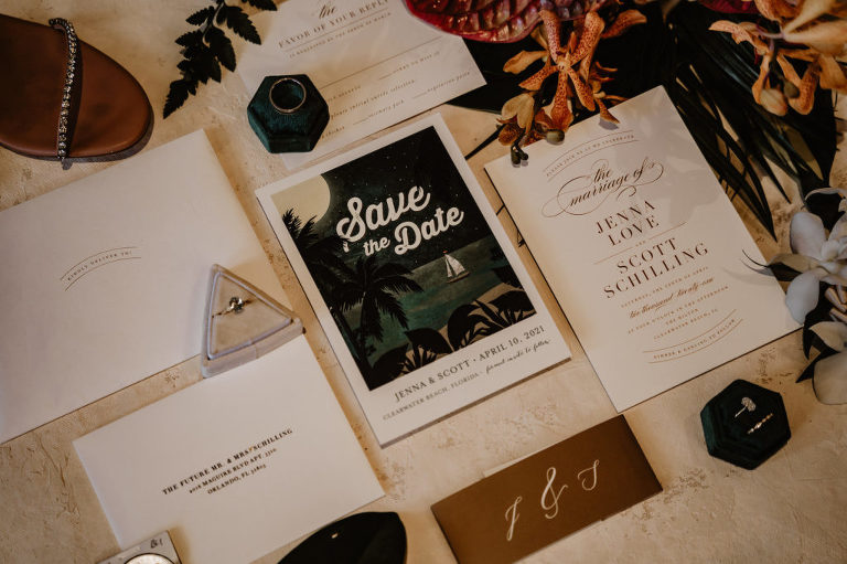 Tropical Dark and Moody Wedding Save the Date, White and Brown Font Wedding Invitation Suite, Triangular Gray Ring Box with Oval Diamond Engagement Ring, Emerald Green Hexagon Ring Box with Groom Wedding Ring