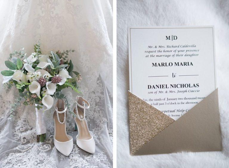 Glittery Wedding Invitation   Calla Lily Bouquet and White Wedding Heels