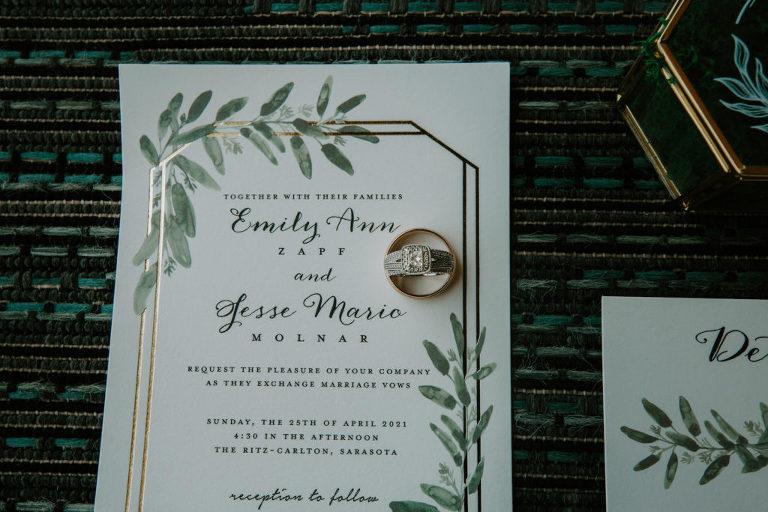 Earthy Elegant Wedding Invitation, Gold Foil Geometric Shape and Greenery Leaves, Bride Diamond Engagement Ring