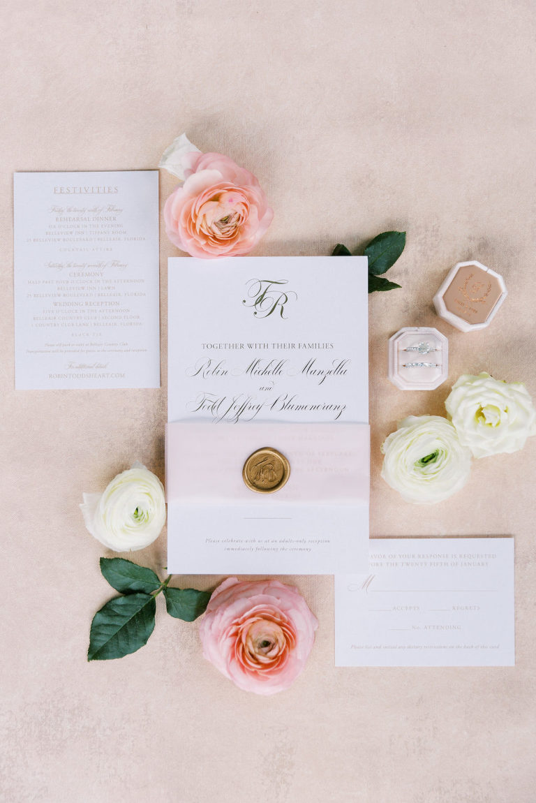 Elegant Florida Wedding Stationery and Invitation Suite, Ivory Paper with Gold Script and Wax Seal, The Mrs Box Bevel Double Velvet Ring Holder in Blush Pink | Tampa Bay Wedding Planner Parties A' La Carte