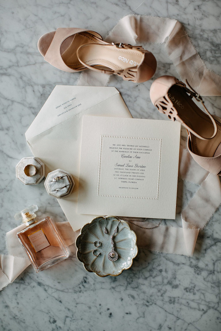 Vintage Inspired Florida Bridal Accessories and Details, Klub Nico Blush Open Toe Shoes, Ivory Square Invitation Suite, Coco Channel Perfume, Hexagon Velvet Ring Bow, Dangle Necklace with Small Hoop Earrings