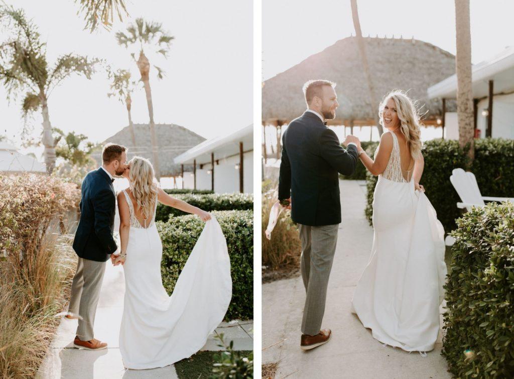 Romantic Tampa Bride and Groom Sunset Waterfront Wedding Photos   St. Pete Wedding Venue Postcard Inn on the Beach