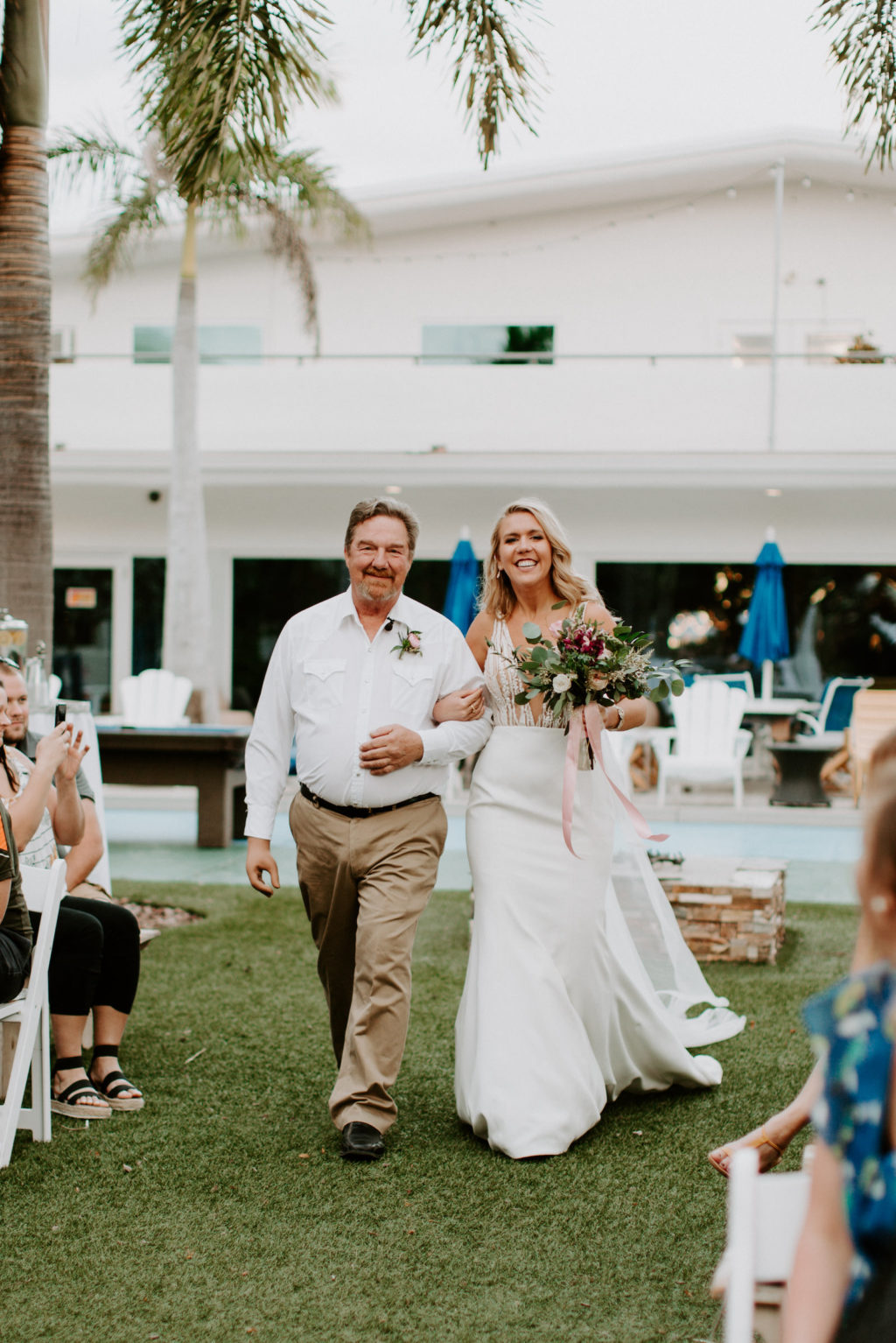 Florida Bride and Father Walking Down the Wedding Ceremony Aisle   St. Pete Wedding Venue Postcard Inn on the Beach