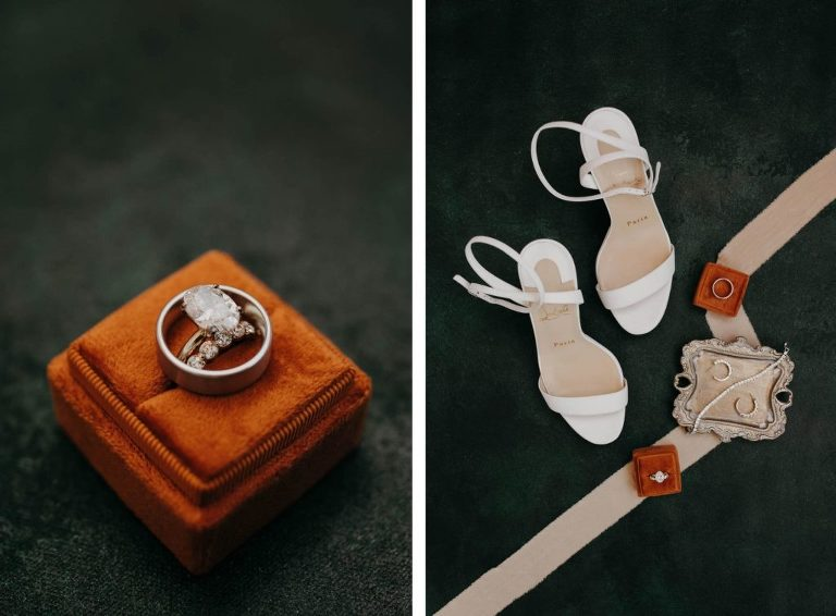Oval Diamond Engagement Ring, Bride and Groom Wedding Bands in Burnt Orange Ring Box, White Strappy Sandal Heels