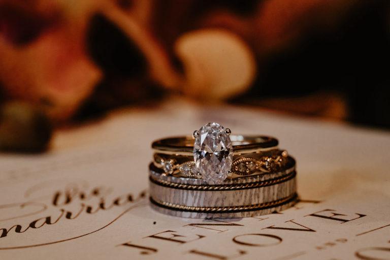 Oval Diamond Engagement Ring, Infinity Bride Wedding Band, Groom Wedding Ring on Wedding Invitation