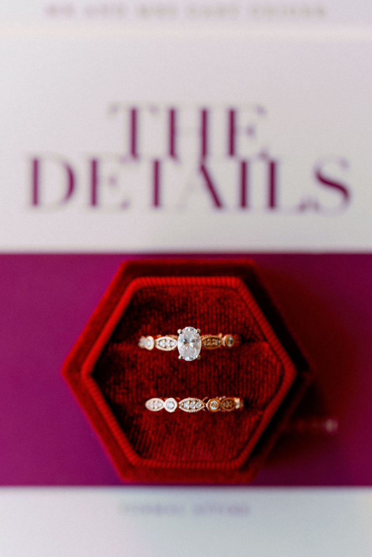 Oval and Yellow Gold Twisted Band Diamond Engagement Ring and Bride Wedding Band in Red Velvet Geometric Ring Box | Tampa Bay Wedding Photographer Dewitt for Love Photography