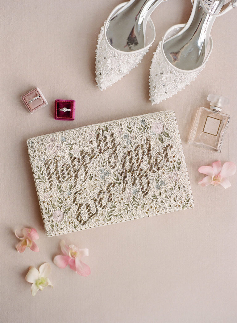 Elegant Beaded Happily Ever After Clutch Bridal Purse, White Pointed Rhinestone Bridal Shoes