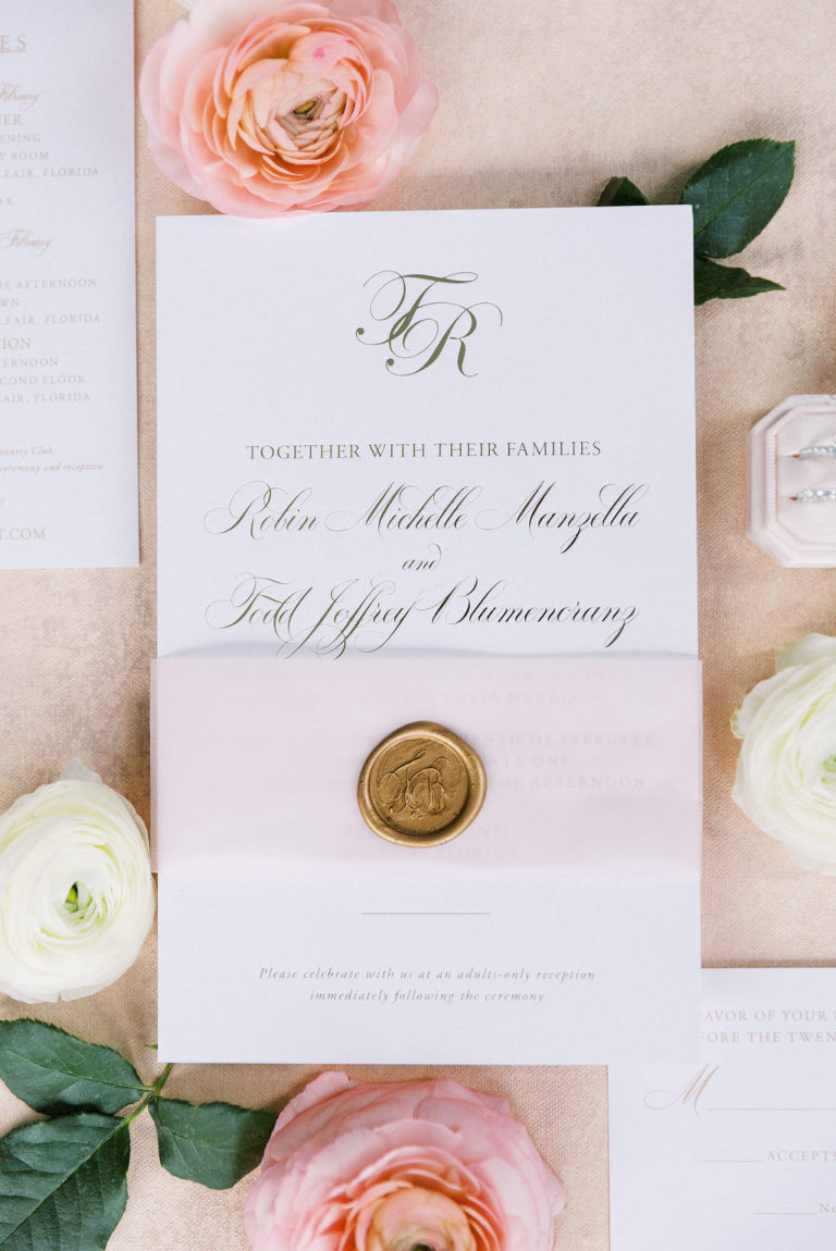 Elegant Florida Wedding Stationery and Invitation Suite, Ivory Paper with Gold Script and Wax Seal, The Mrs Box Bevel Double Velvet Ring Holder in Blush Pink | Tampa Bay Wedding Planner Parties A' La Carte | Clearwater Florist Bruce Wayne Florals