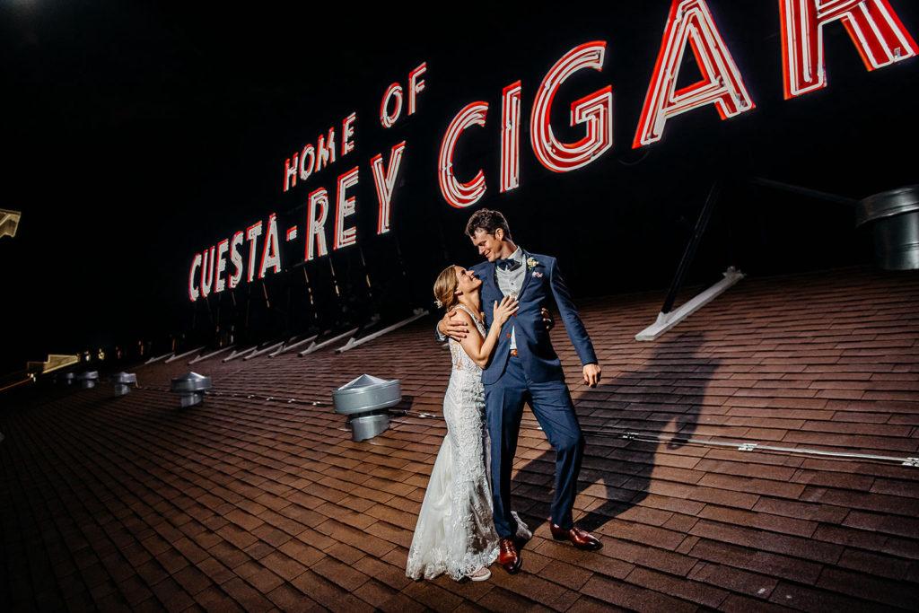 Ybor City Bride and Groom on Rooftop of Former Cigar Rolling Warehouse, Home of Cuesta-Rey Cigars | Historic Florida Wedding Venue J.C. Newman Cigar Co.