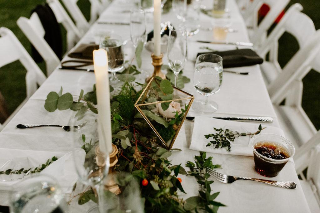 Garden Wedding Reception Decor, Gold Geometric Candle Holder with Greenery