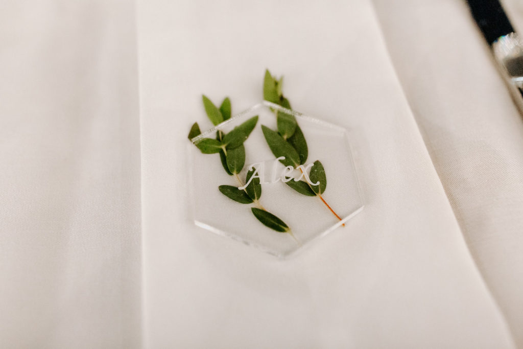 Garden Wedding Reception Decor, Unique Clear Acrylic with Green Leaf Name Place Card Signage