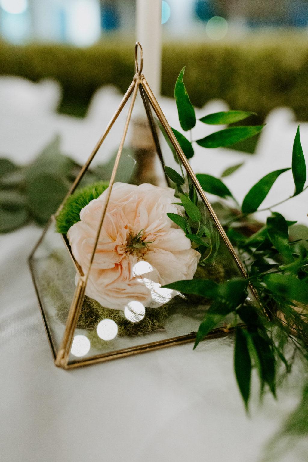 Garden Wedding Reception Decor, Geometric Gold Pyrimid with Single Blush Pink Rose