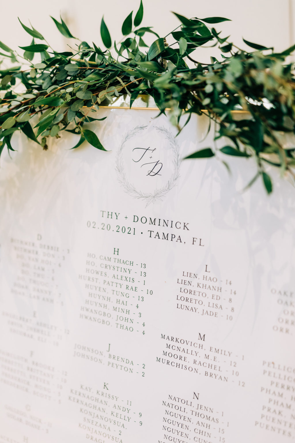 Classic Garden Wedding Reception Decor, White Seating Chart with Couples Monogram, Greenery Garland   Tampa Bay Wedding Florist Monarch Events and Design   Wedding Rentals Kate Ryan Event Rentals