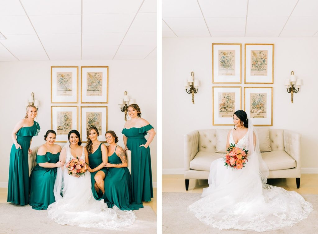 Florida Bride Sitting on Couch Holding Vibrant Colorful Pink and Orange Floral Bouquet with Bridesmaids in Mix and Match Emerald Green Dresses   Tampa Bay Wedding Florist Monarch Events and Design   Wedding Venue Tampa Garden Club