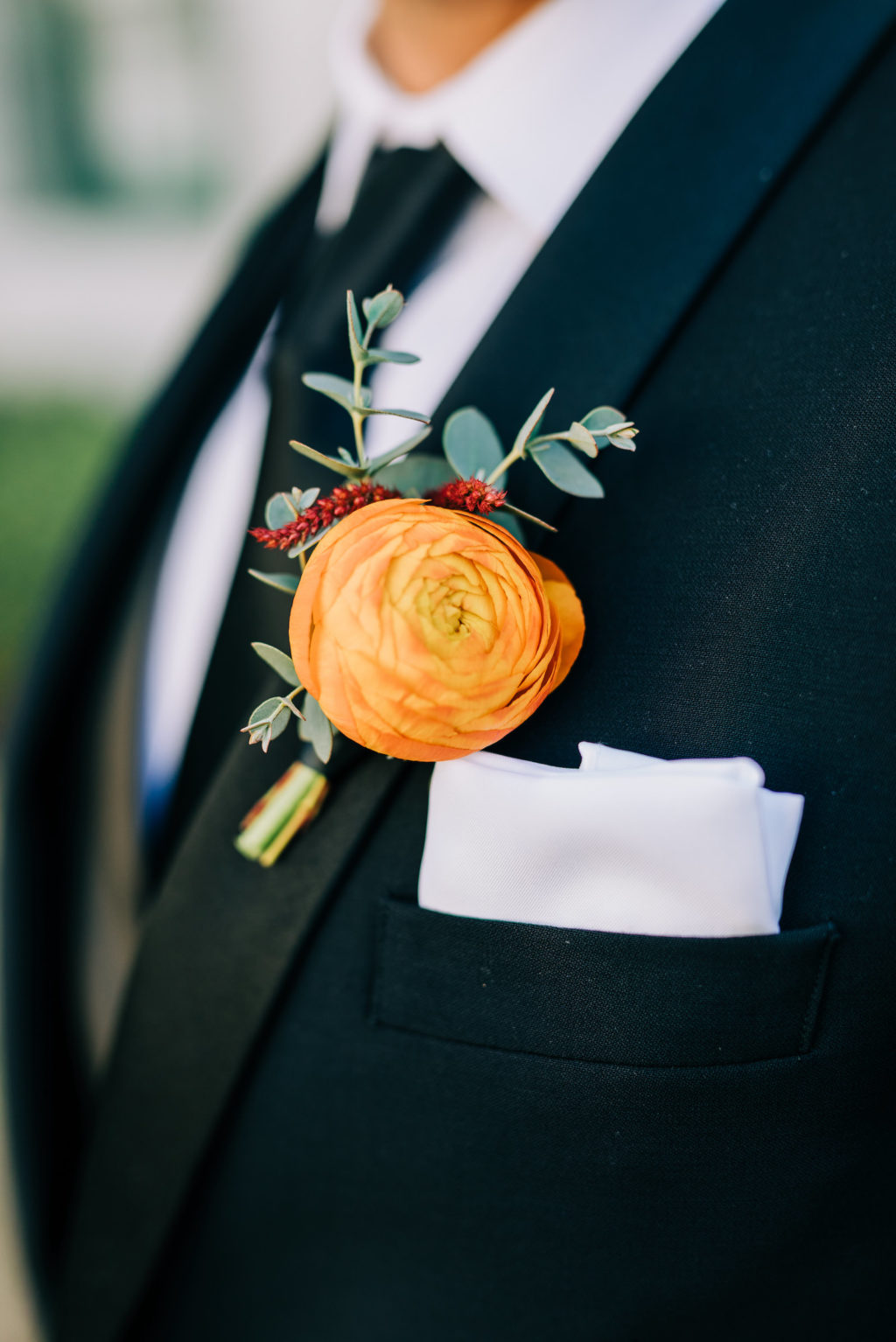 Florida Groom Orange Rose with Greenery Flower Boutonniere   Tampa Bay Florist Monarch Events and Design