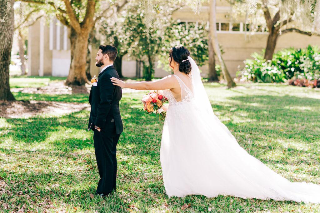 Florida Bride and Groom First Look Outdoor Photo   Wedding Venue Tampa Garden Club