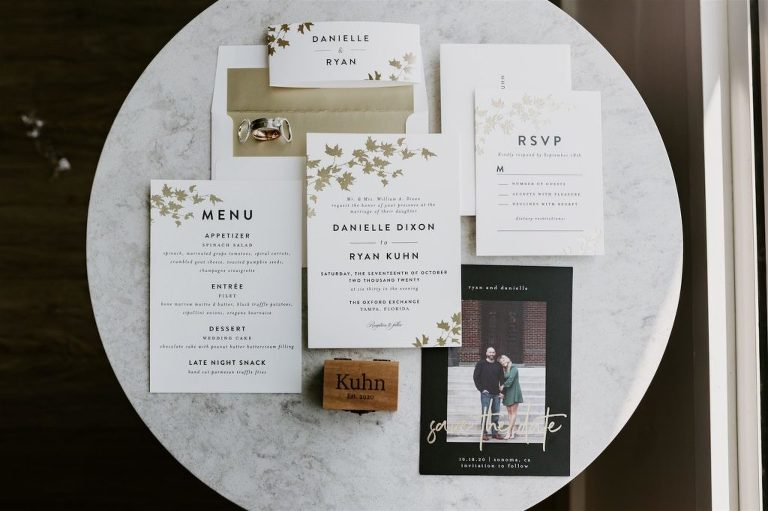 Wedding Invitation Suite Stationery Set with Gold Foil Fall Leaves